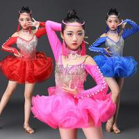 2018 New Sexy Latin Dance Dress For Girl Professional Red Blue Fabric Children Tutu Paso Kid Competitive Flamenco Costume N5050