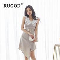 RUGOD elegant 2 piece set women Vintage lace peter pan collar sleeveless shirts & irregular mini skirts with slash ladies wear