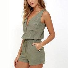 Sexy Sleeveless Bodysuit Women Jumpsuit Shorts Romper Summer V neck Zipper Pockets Playsuit Fashion Beach Overalls