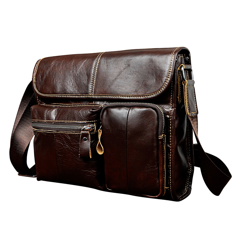 New Fashion Real Leather Male Casual messenger bag Satchel Design 11 Pad Crossbody Shoulder bag School Book Bag For Men 202 5boxes 10pcs prostatitis pad to treat prostate disease sexual dysfunction of male pad urological pad painful urination