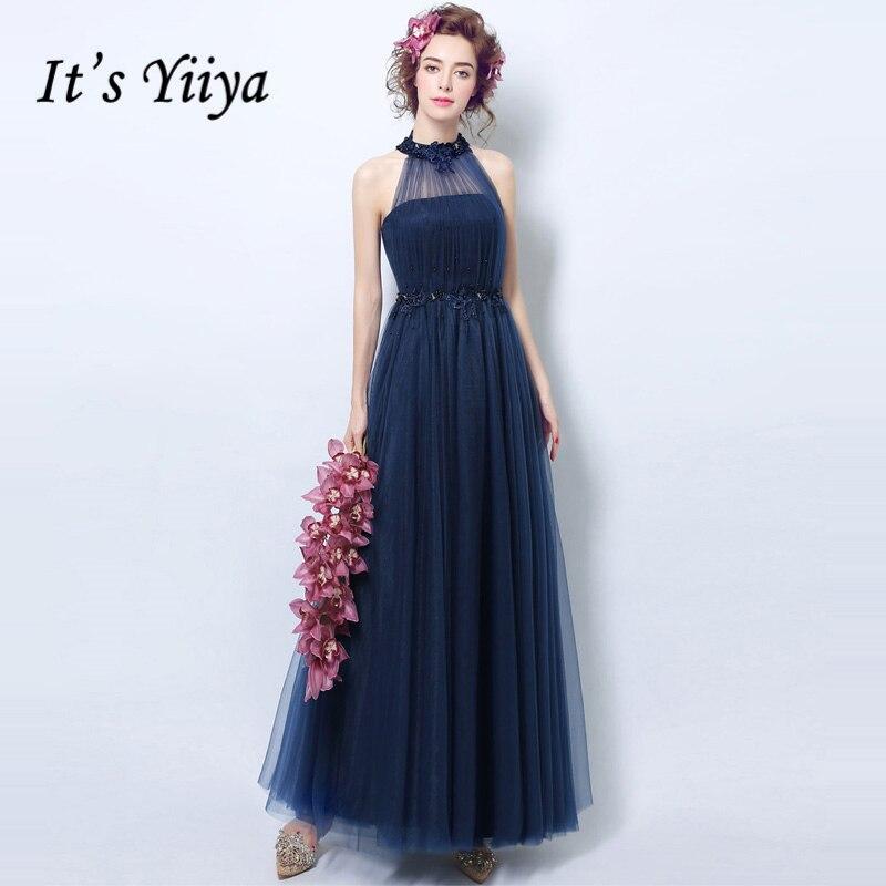 Designer Evening Dresses Sale On White: It's Yiiya Blue Halter Luxury Elegant Evening Dresses
