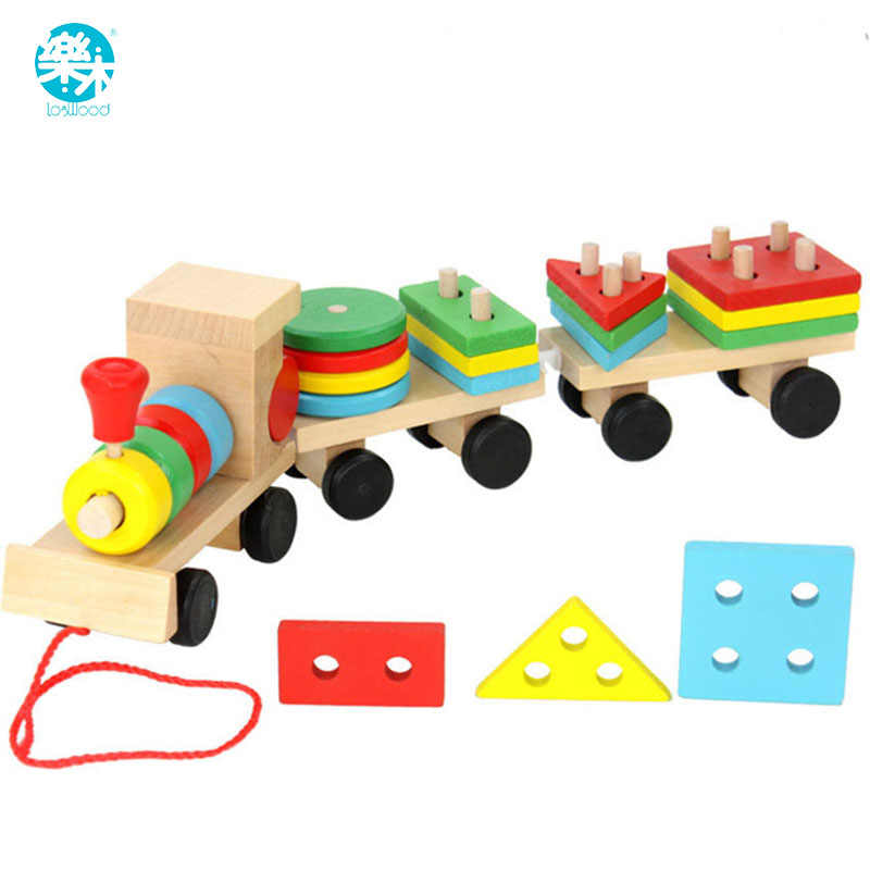 Baby Toys Kids Trailer Wooden Train Vehicle Blocks Geometry/Colour Congnitive Blocks Child Education Birthday/Christmas Gift