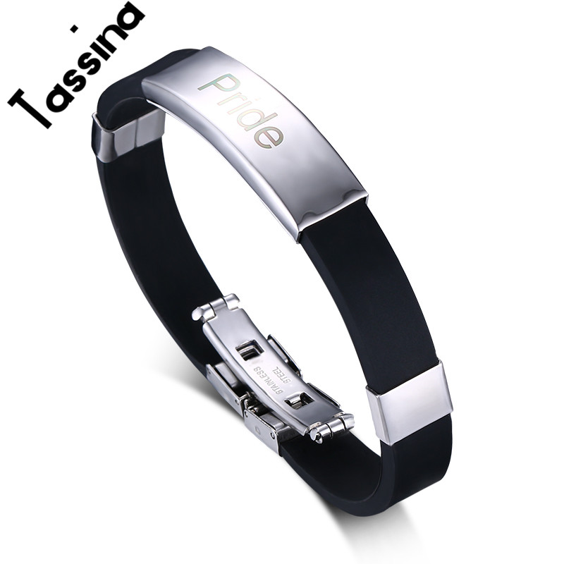 Tassina New LGBT High Quality Stainless Steel Personality Bracelets & Bangles For Gay Pride Fashion Jewelry TNPB003
