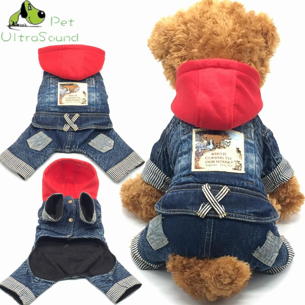 2018 Baru Jean Pet Cat Dog Animal Printed Kostum Hangat Musim Dingin Pakaian Anjing Mantel Koboi Jean Jaket Empat Kaki pakaian Untuk Anjing