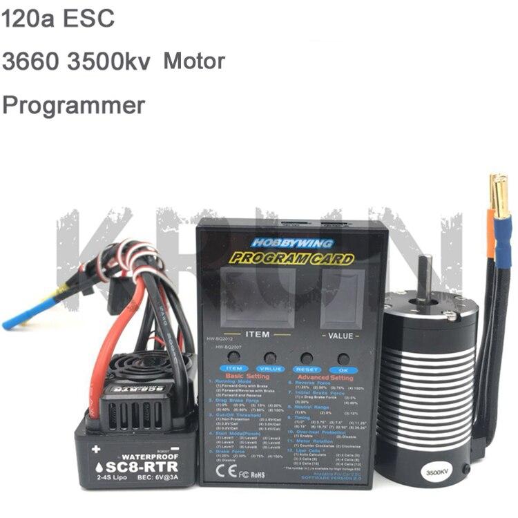 1pcs Original Hobbywing SC8 RTR 120A Brushless ESC 3660 3500KV 3800KV Sensorless Motor Set LED Programing