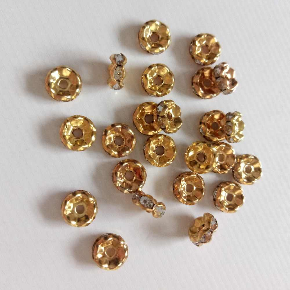 Caliente 50 Uds forma de onda con incrustaciones en diamantes de imitación cuentas 6mm/8mm apto para mujeres DIY joyería hacer pulsera collar aretes Material con cuentas