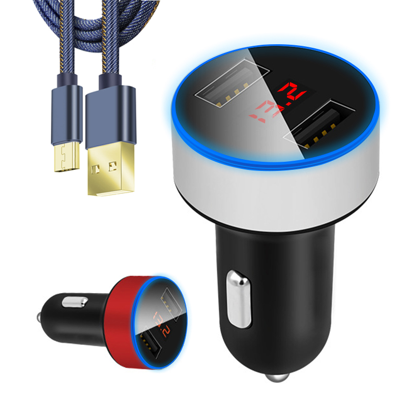 Universal Duble USB charger Led Display Portable chargers For Xiaomi Car charger fast charge for iphone huawei samsung lg sony