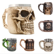 Free Shipping Resin Skull Mug Tankard Striking skull goblet  Beer Mug Gothic stainless steel stainless steel 3d skull shaped cup