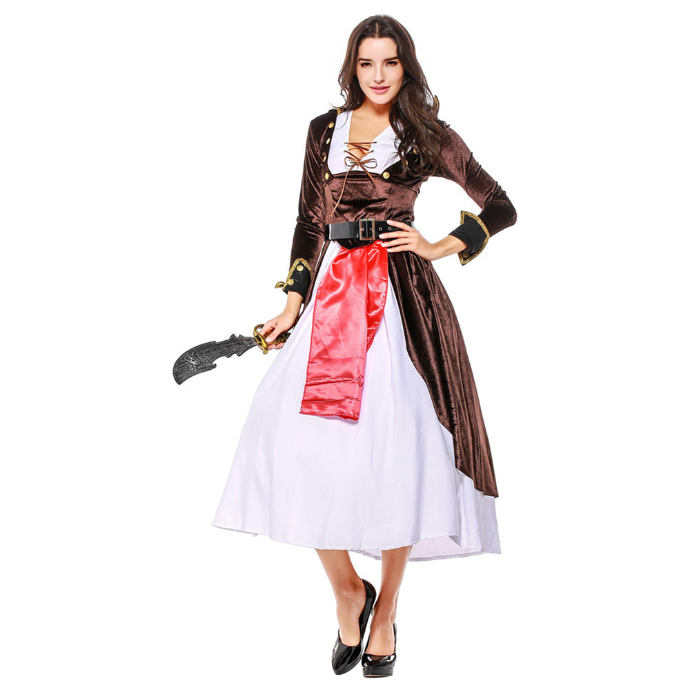 Adult Halloween Pirate Costume Women Medieval Game Suit Dress Girls Carnival Masquerade Pirate Role Play Fancy Dress