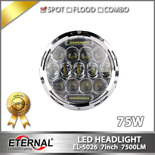 Free shipping pair-75W round LED headlight 7in rubicon Wrangler CT TJ JK  FJ Miata 4x4 off-road high power headlamp replcement hl 037 80w 7 projector daymaker led headlight for jeep wrangler rubicon ct tj jk fj miata 4x4 off road hi low beam led headlamp