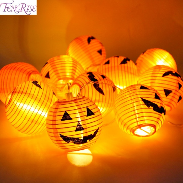 fengrise 1 set pumpkins string lights 10 led halloween decoration lanterns lamp diy party decoration home