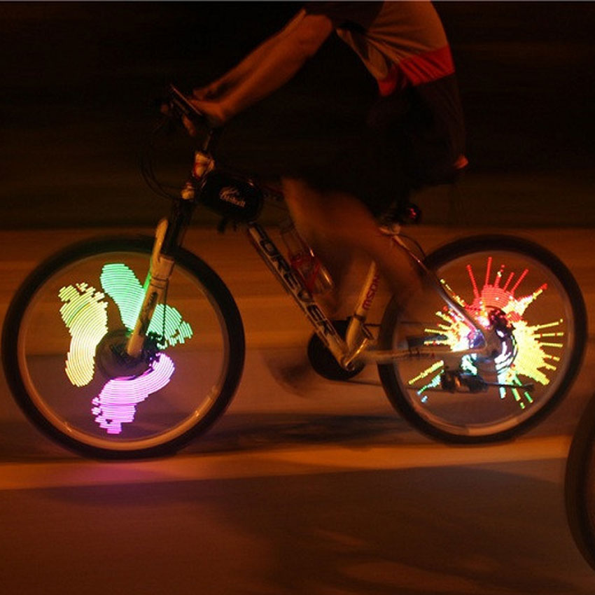 ФОТО Bicycle Spokes Lights Bike Wheel Lamp Cycling Rechargeable Programmable DIY Customize Pattern LED Light Riding Accessories