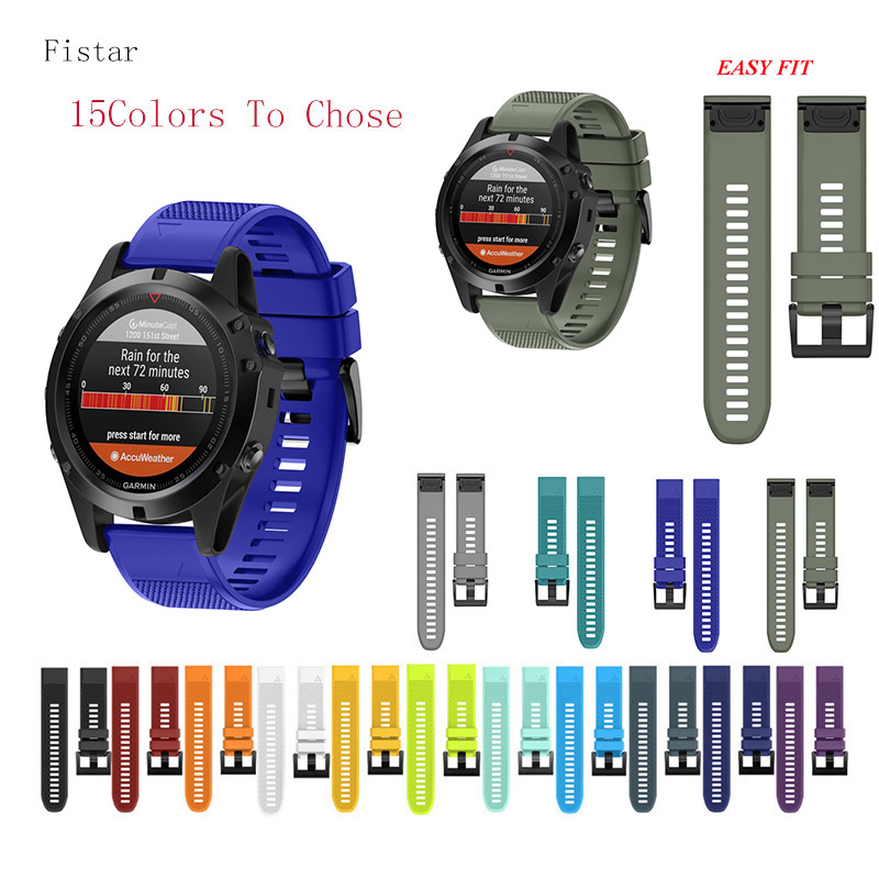 Fistar 15 COLORS Quick Release Easy Fit Silicone Watch Wrist band Strap for Garmin Fenix 5X