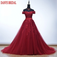 Elegant Red Long Lace Evening Dresses Party for Wedding A Line Custom Made Formal Evening Gowns Dresses robe de soiree longue