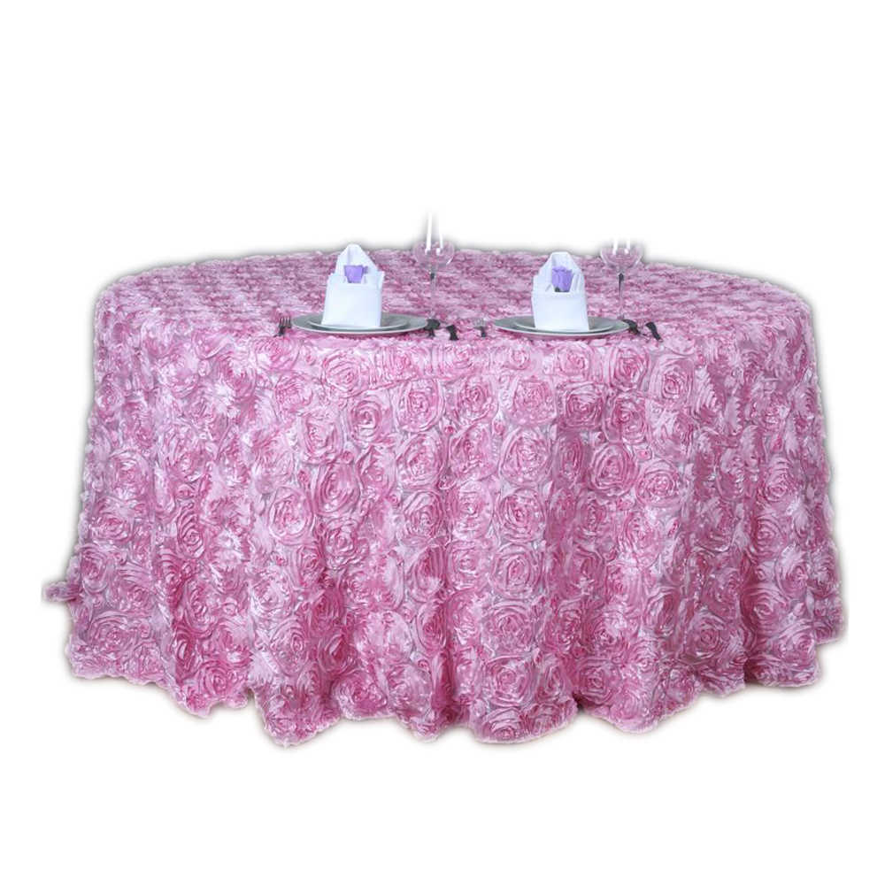1pcs 120 inch 3D Luxurious Rosette Satin Tablecloth Round Rose Embroidery Table Linens Wedding Table Home Decoration