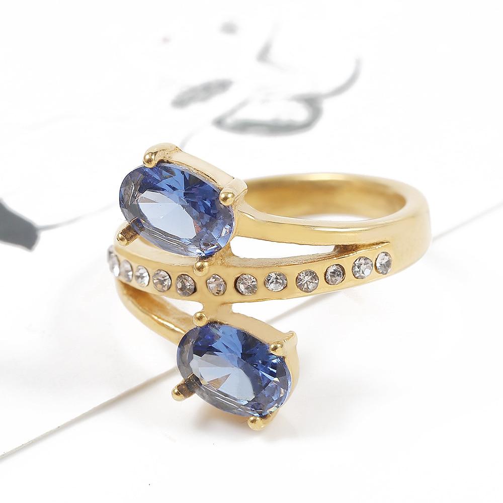 TL Blau & Rot Großen Zirkon Doppel Ring Gold Farbe Edelstahl Hochzeit Ringe für Frauen Gefüllt Österreichischen Kristalle Mitte ring