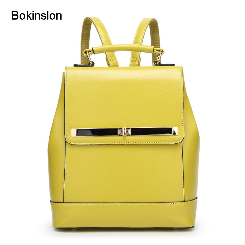 Bokinslon Women s Backpack Fashion Cow Split Leather Girl Backpack School Casual All Match College Wind