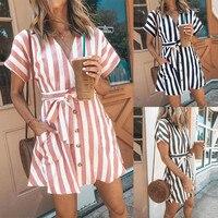 Для женщин Повседневное пояса полосатый вечерние платье женские короткий рукав с v-образным вырезом на пуговицах, элегантное мини-платье 2019...