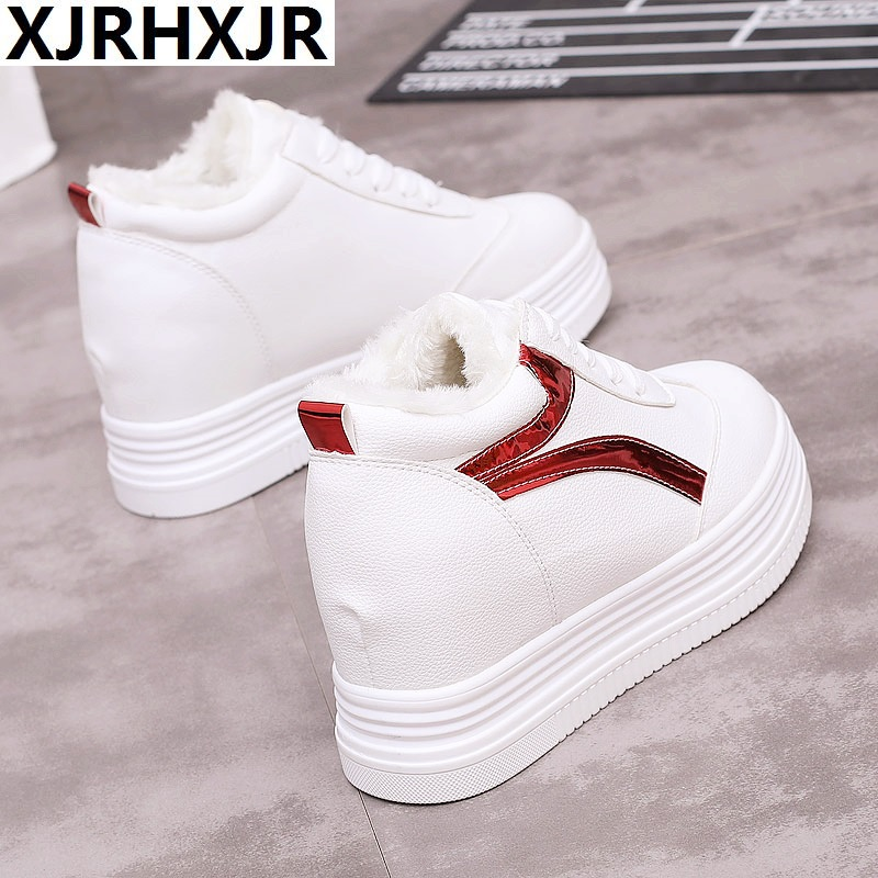 2018 Fashion Korean Women Shoes Winter Warm Fur Plush Sneakers Women Casual Shoes Platform Wedge Winter Sneakers Pink Woman 2018 women shoes warm fur winter sneakers pink women casual shoes high top ladies sneakers winter platform shoes tenis feminino