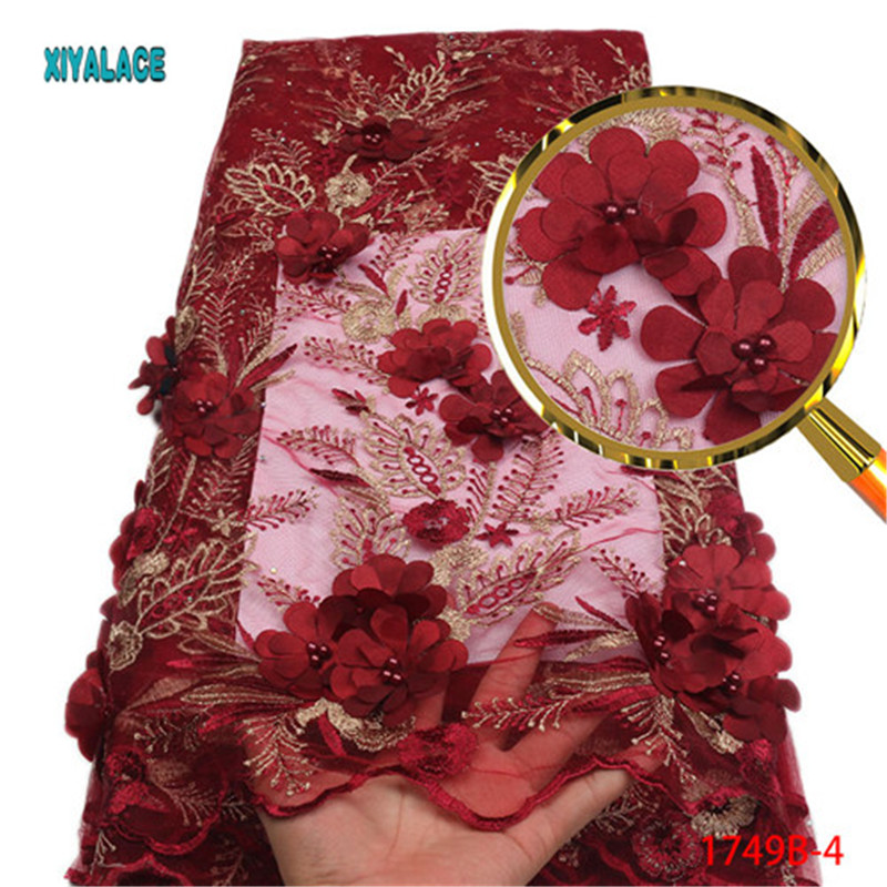 african fabric lace Embroidery Nigerian Lace Fabric for weeding High Quality 3d flower african beaded lace