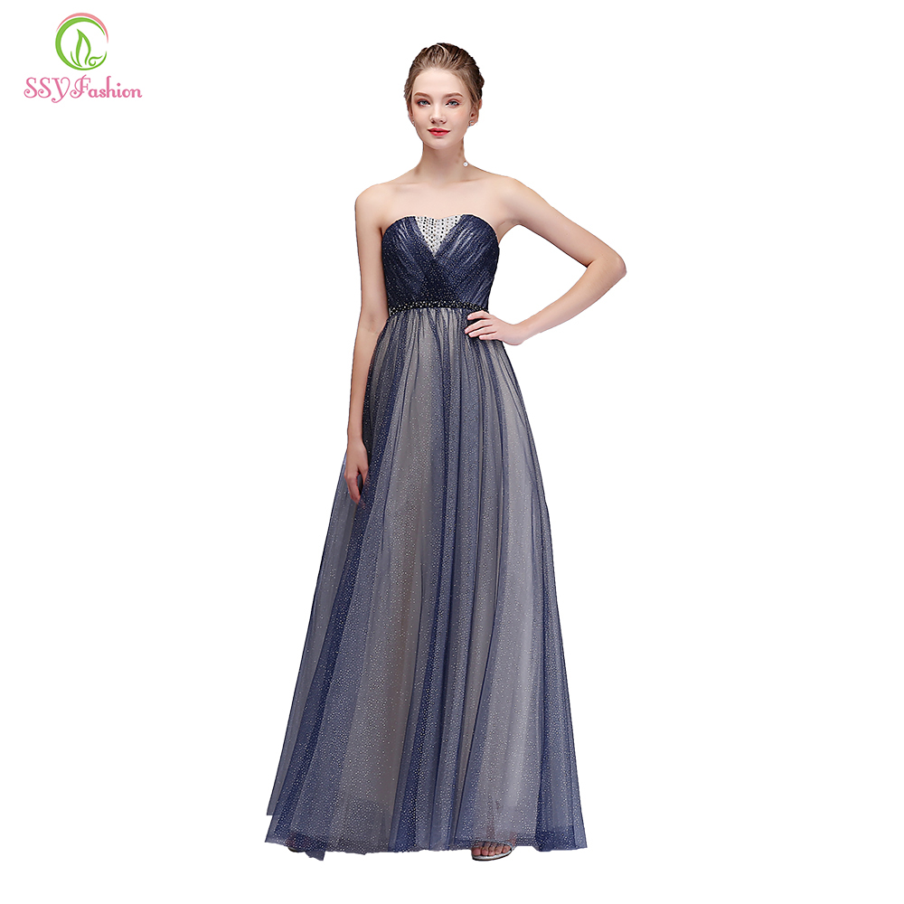 Clearance Sexy Strapless Sleeveless Evening Dress Contrast Color Floor-length Beading Party Gown Formal Dresses