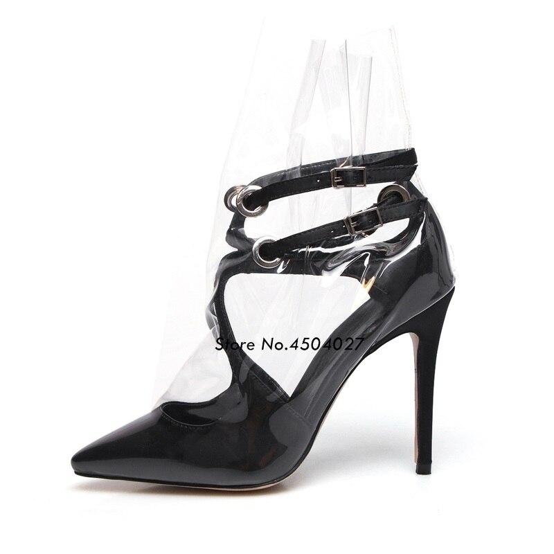 Boucle Date De Sangle Chaussures Sandales Dame blanc Femme Bout Pointu Noir Mode Pvc Transparent rose Stilettos Pxw7PYrq