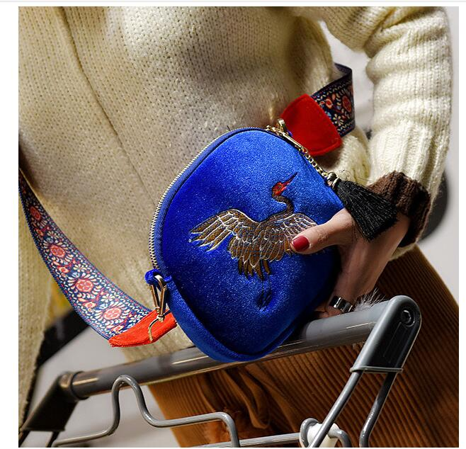 Jacquard lot Or Vintage 10 Sac Dame Style Mini bleu Noir Pcs Grues Chinois 0xqOX5wO