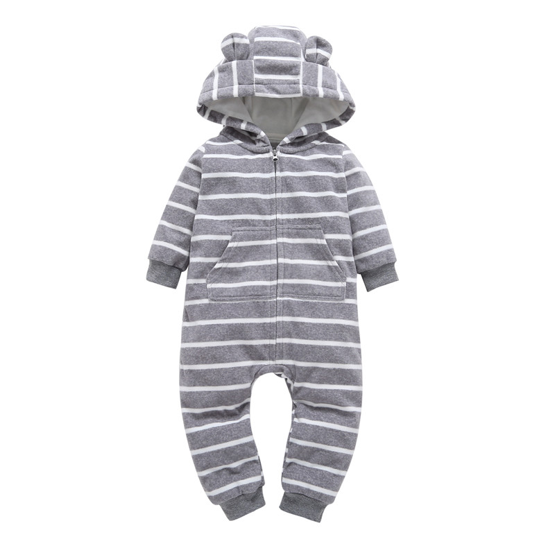 Infant baby boys clothes casual Unisex newborn baby   rompers   Fleece stripe long sleeve hooded one piece clothing Overalls gray