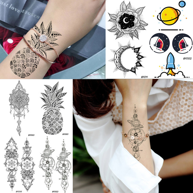 Henna Flores Mujeres Tatuaje Temporal Pegatinas Brazo Manga Piña
