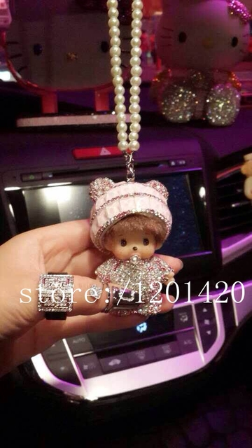 rear view mirror charm monchichi Car charm baby pink crystal pearls chain Monchhichi car accessories for girls women car charm