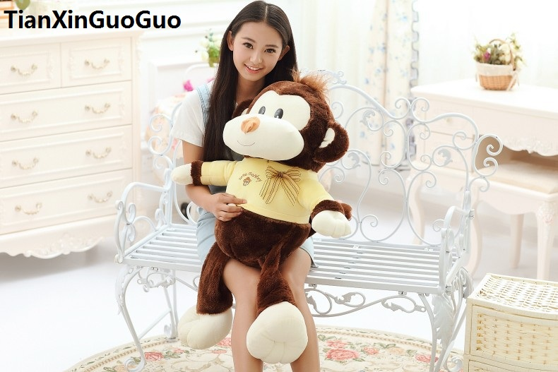 stuffed toy large 90cm cartoon brown monkey plush toy with yellow cloth, soft throw pillow birthday gift h2985 cartoon glasses panda in yellow cloth large 70cm plush toy panda doll soft pillow christmas birthday gift x031