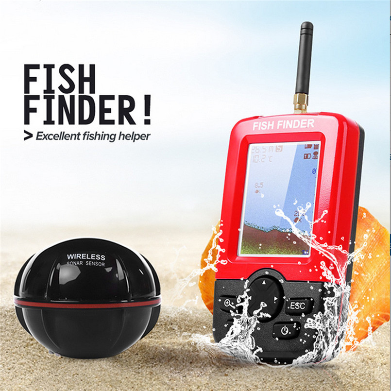 Smart Portable Depth Fish Finder With 100M Wireless Sonar Sensor Echo Sounder Fish Finder For Lake Sea Fishing A3 lucky ffw1108 1 color lcd display portable wireless sonar fish finder water resistant 40m 120ft depth sonar sounder alarm b9