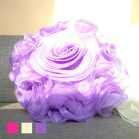 Elegant 3D Handmade Lace Flower Double Root Yarn Round Petals Net Rose Pillow Cushion Sofa Lumbar