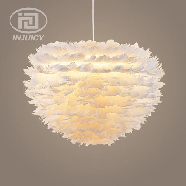 Moderne witte veer led droplight slaapkamer kinderkamer led hanglamp ...