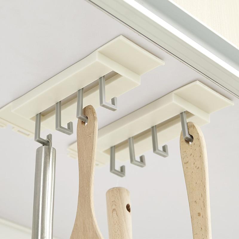Kitchen Cupboard Organizer Hook Spatula/ Towels Hanger Non-trace Strong Sucker Rack Storage Shelf Holder For Kitchen Bathroom