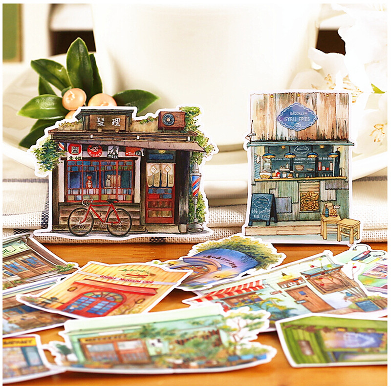 15pcs Creative Cute Self-made  Corner Shop Scrapbooking Stickers /Decorative Sticker /DIY Craft Photo Albums/trunk Sticker