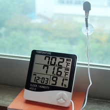 New LCD Digital Temperature Humidity Meter HTC-1 HTC-2 Indoor Outdoor Hygrometer Thermometer Weather Station with Clock htc 2 3 1 lcd plastic electronic household thermometer hygrometer clock silver black