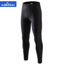 SABOLAY Men Lycra Surf Diving High Elastic Black Tight Long Pants Breathable Rashguards Swimsuit Sunscreen Swimming Rash Guard
