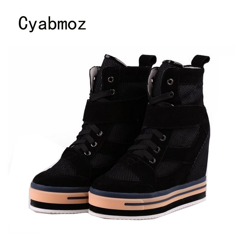 Cyabmoz Women Height Increasing Thick bottom Woman Platform Shoes High top Breathable High heels Wedge Ladies Shoes Ankle boots цена