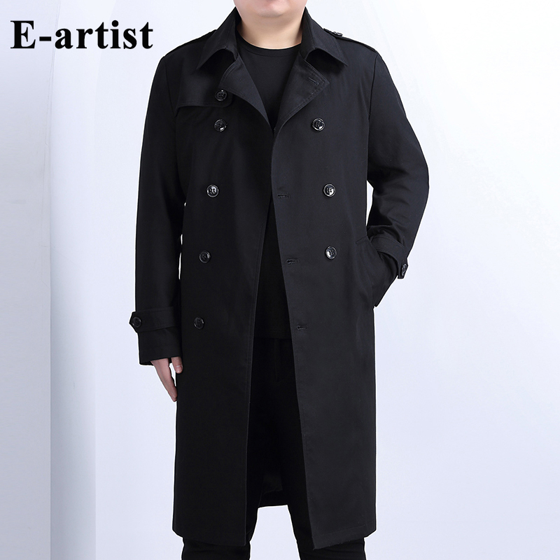 E artist Men Double Breasted Long Cotton Trench Coat with Belt Spring New Jacket Overcoats Outwear Windbreakers Plus Size