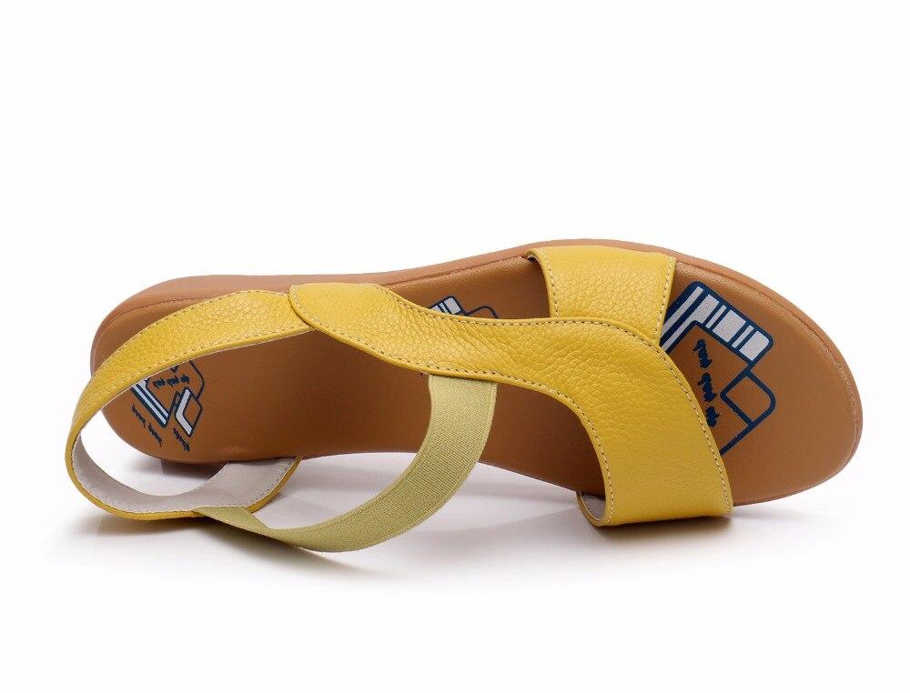 Image 5 - BEYARNE Cow Genuine Leather Sandals Women Flat Heel Sandals Fashion Summer Shoes Woman Sandals Summer Plus Size 34 43Low Heels   -