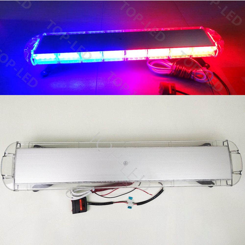 """38/"""" 72LED Car Emergency Warning Solid Roof Plow Tow Strobe Light Bar Amber White"""