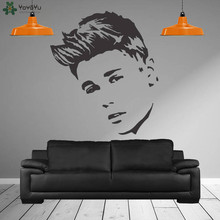 Justin Bieber Wall Decal Fashion Singer JB Poster Girls Home Decor Vinyl Stickers Face Art Mural Design SY154