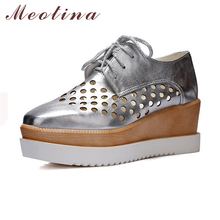 Meotina Women Pumps Autumn Square Toe Casual Platform Wedges Female Lace Up Cutout Gold Shoes Plus Size 9 10