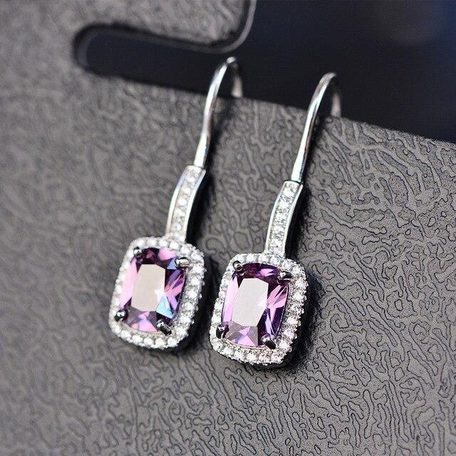 925 Sterling Silver Emerald Citrine Sapphire Gems Drop Dangle Hook Earrings  5