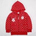 Chica sudaderas con capucha moda casual red bebé capa de la muchacha chaquetas de la marca nova niños invierno ropa de abrigo ropa de niños polca