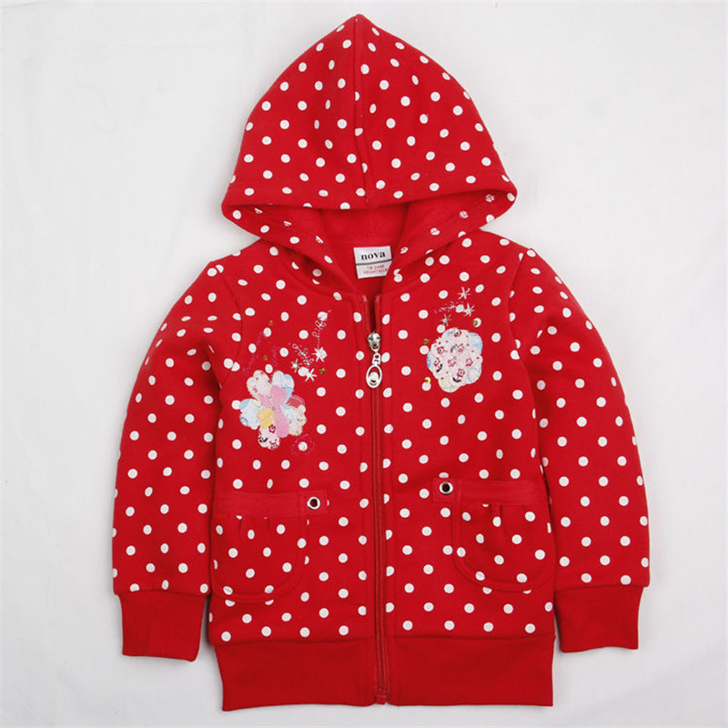 girl hoodies fashion red casual coat baby girl jackets brand nova winter children outerwear polka kids