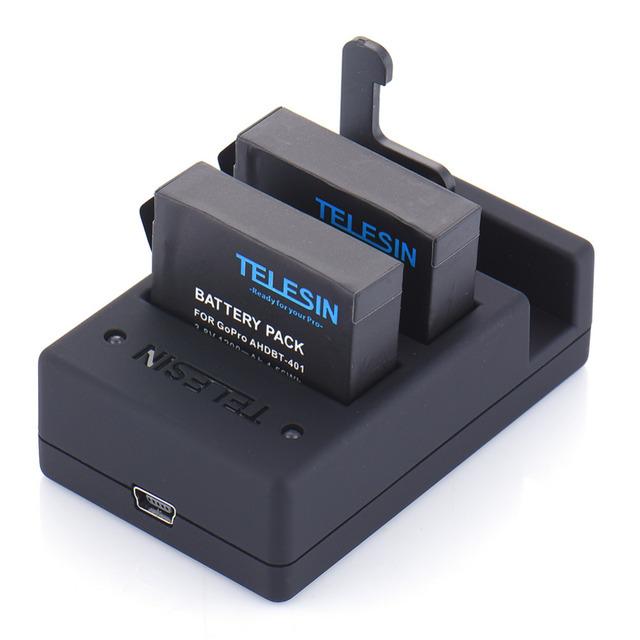 Telesin dual ranuras negro usb cargador de batería y 2 de reemplazo batería de repuesto con cable de carga para gopro hero 4 acción cámara