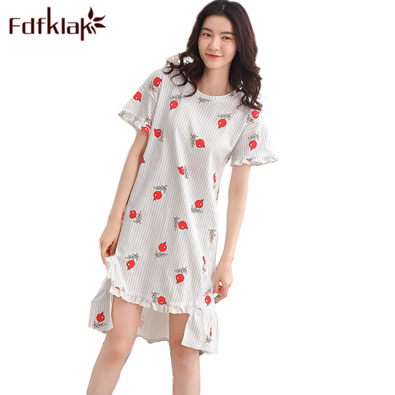 Fdfklak M-3XL Large Size Cotton Nightgown 2018 Summer Short Sleeve Night Dress Women Sexy Sleepwear Nighties For Women Q1055