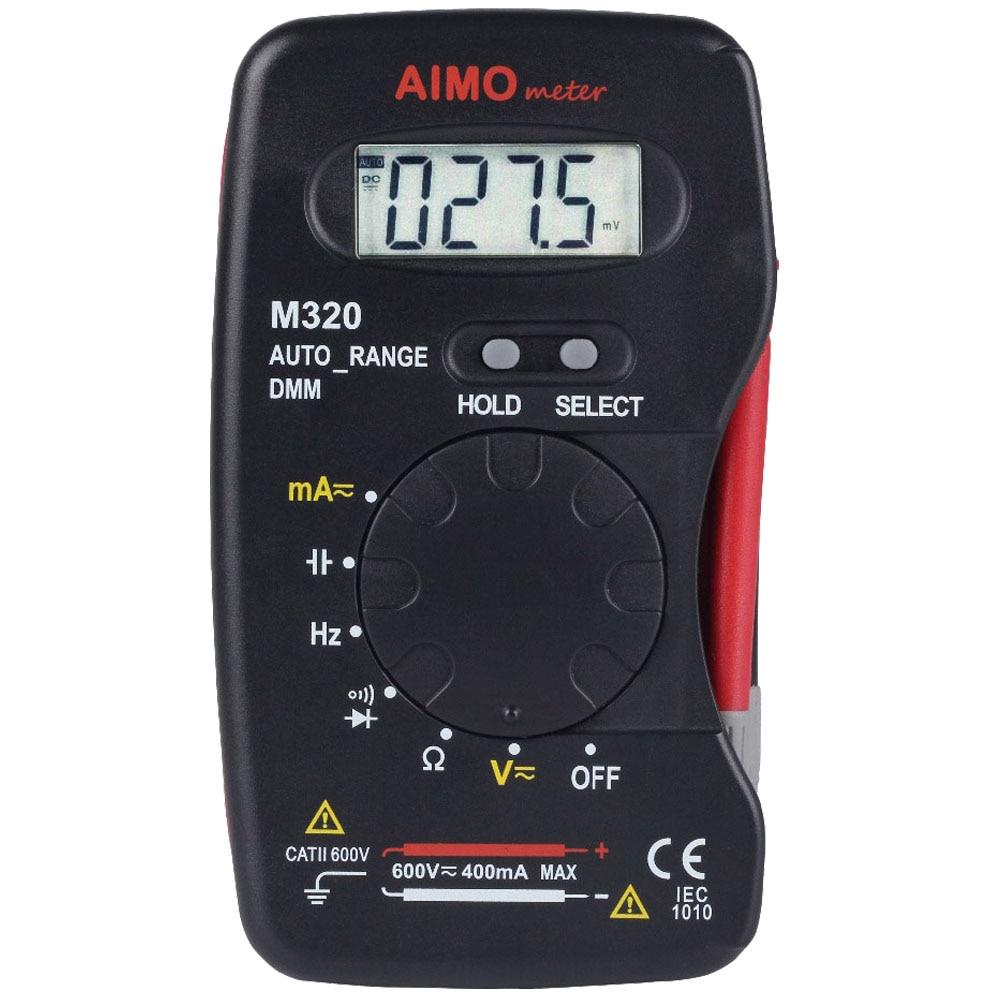 AIMO M320 4000 condes rango automático pequeño multímetro Digital DMM frecuencia capacitancia corriente resistencia diodo medidor